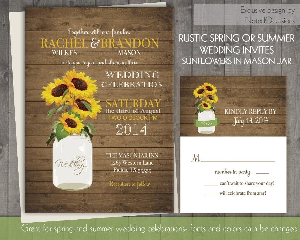 Sunflower Wedding Invitation Set Rustic Sunflower Wedding In - Free Printable Sunflower Wedding Invitation Templates