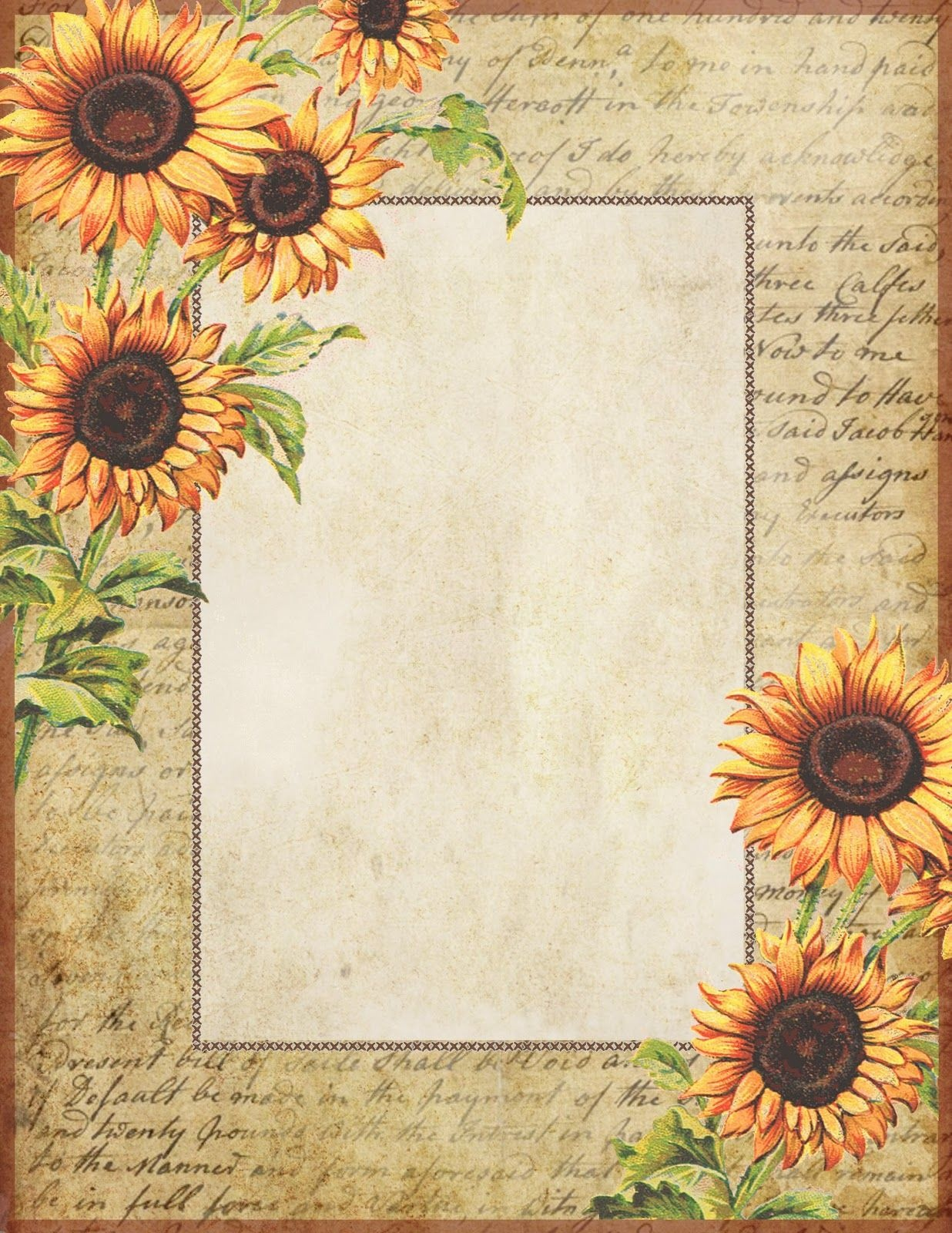 Sunflowers ~ Free Printable Stationery | Graphics: Lilac & Lavender - Free Printable Vintage Stationary
