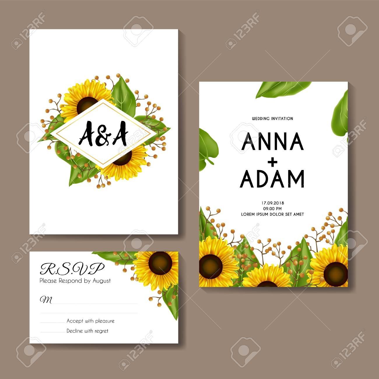 Sunflowers Wedding Invitation Card Template Design Royalty Free - Free Printable Sunflower Wedding Invitation Templates