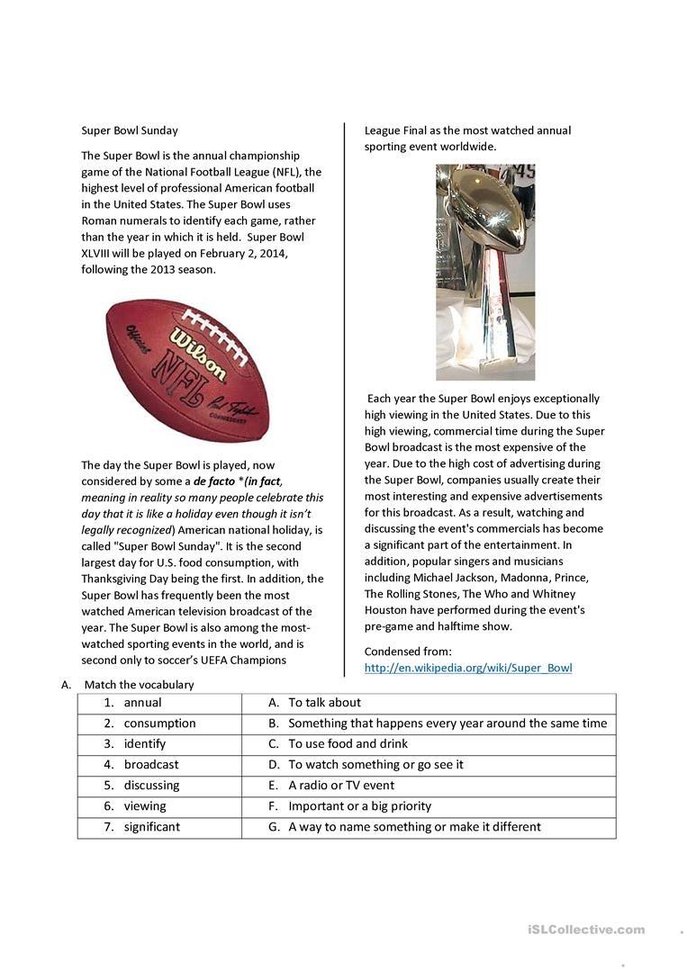 Super Bowl Sunday Worksheet - Free Esl Printable Worksheets Made - Wilson Reading Free Printables
