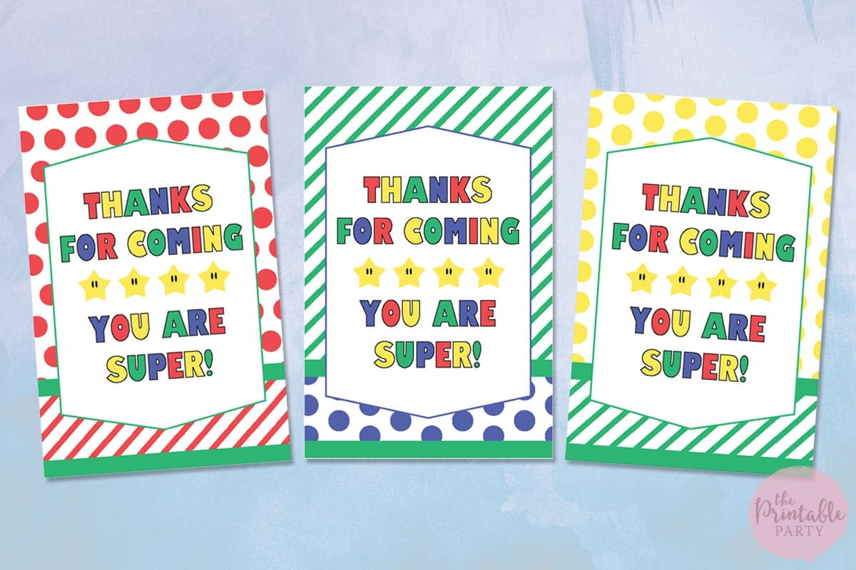 Super Mario Party Themed Free Printable Party Decorations Gift Tags - Free Printable Thank You Tags For Birthdays