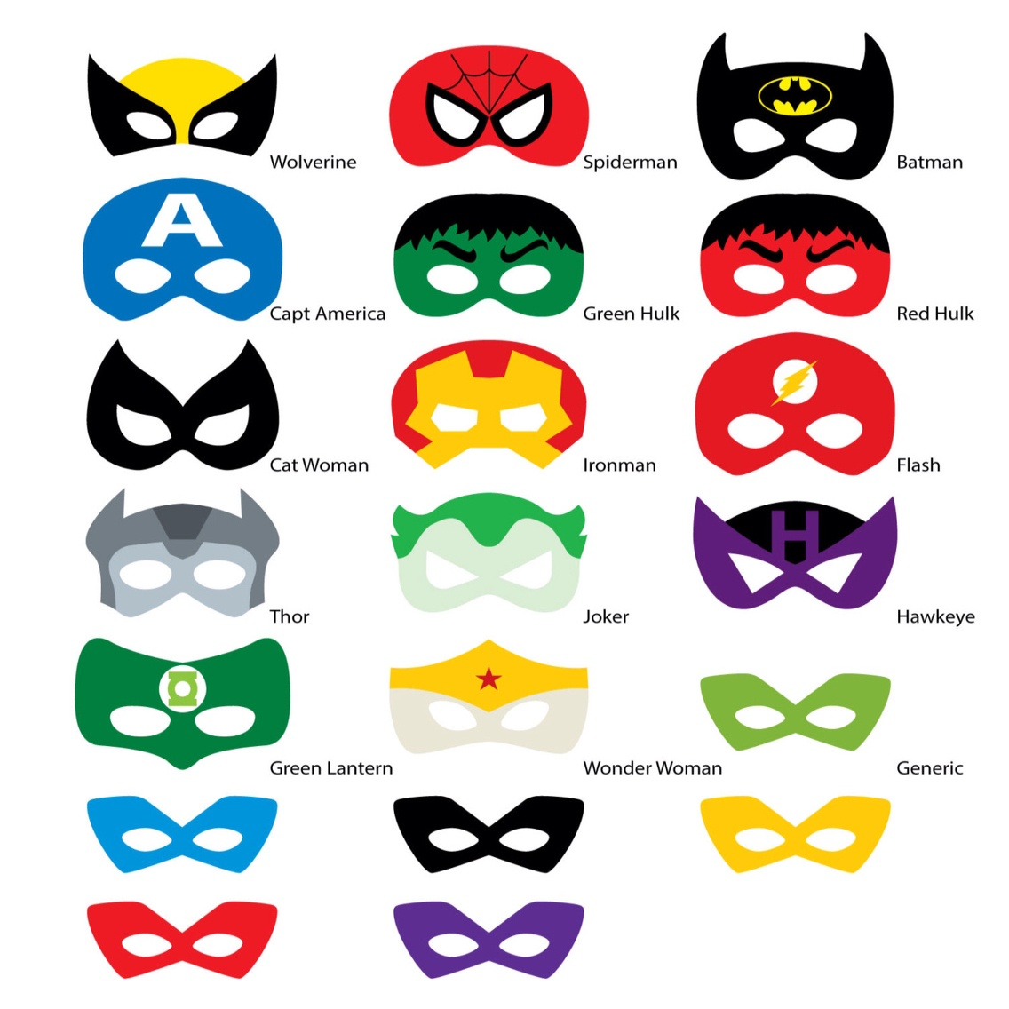 Superhero Mask Template | Free Download Best Superhero Mask Template - Free Superhero Photo Booth Printables