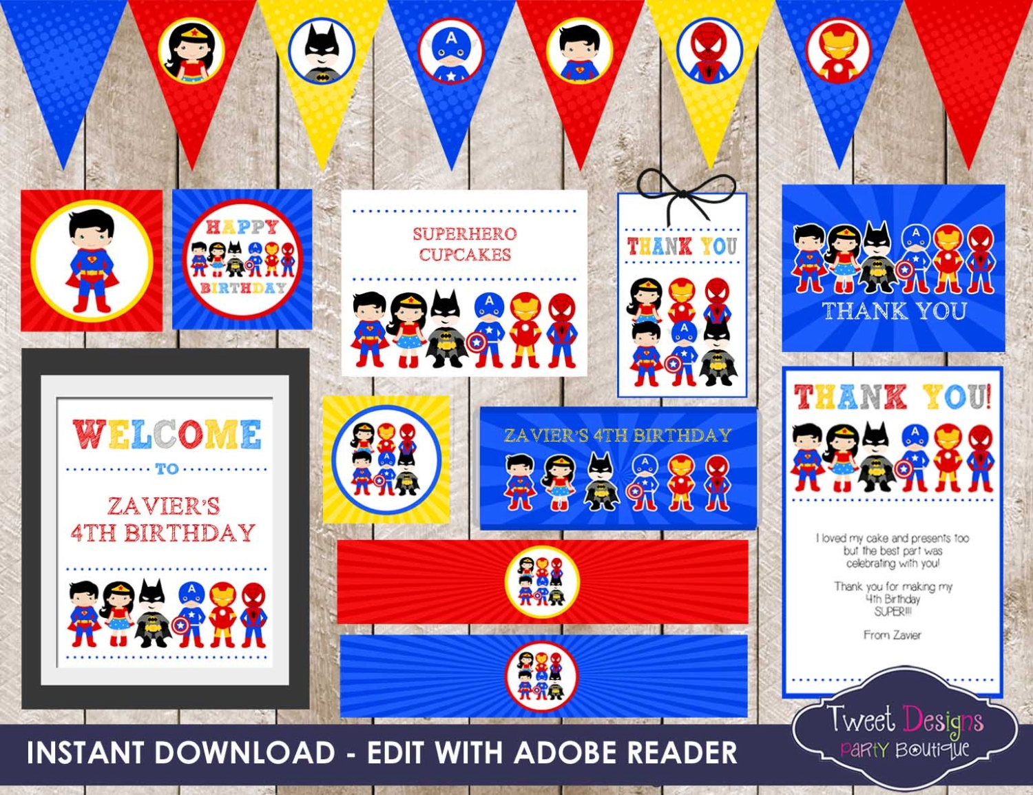 Superhero Party, Instant Download Superhero Printable, Superhero - Free Superhero Party Printables