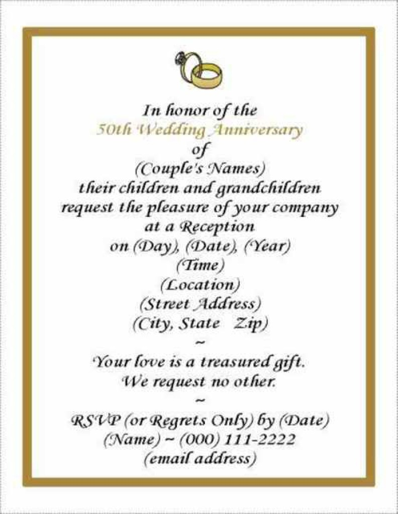 Surprising 50Th Wedding Anniversary Invitations Templates Template - Free Printable 50Th Wedding Anniversary Invitation Templates