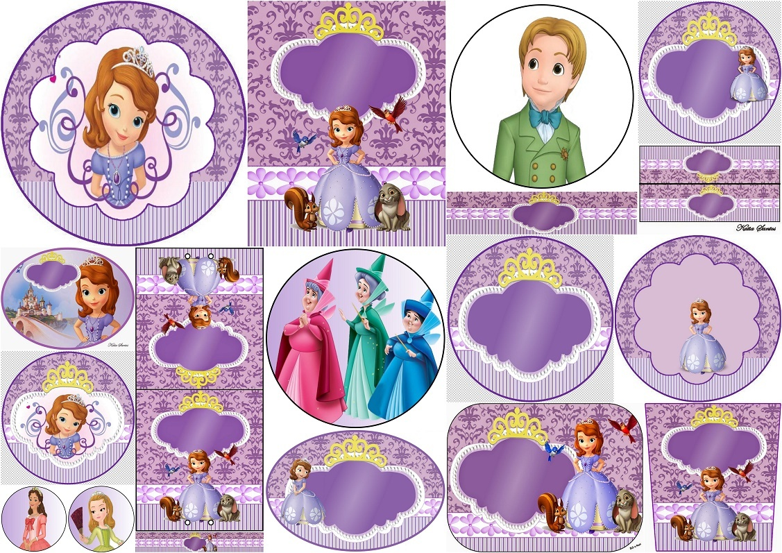 Sweet Sofia The First: Free Printable Invitations And Candy Bar - Sofia The First Cupcake Toppers Free Printable