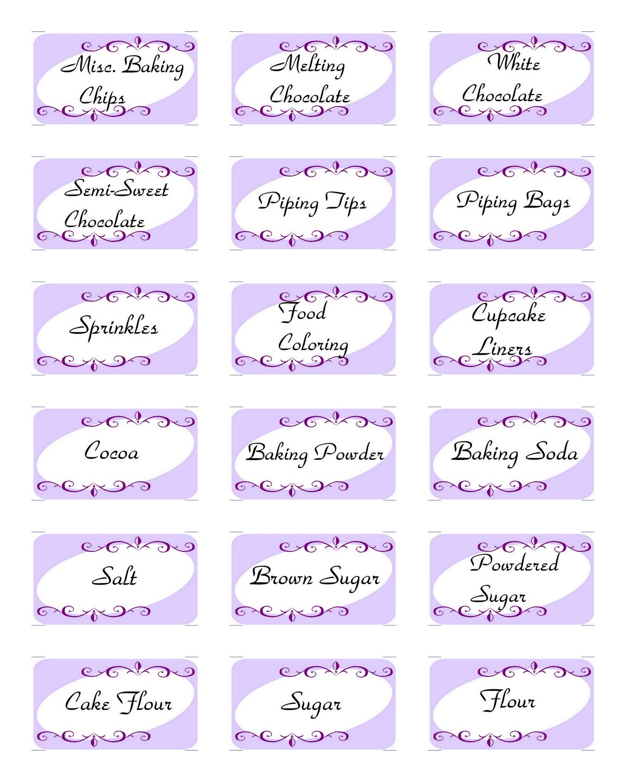 Sweets For Sami: Baking Labels- Free Printable - Free Printable Baking Labels