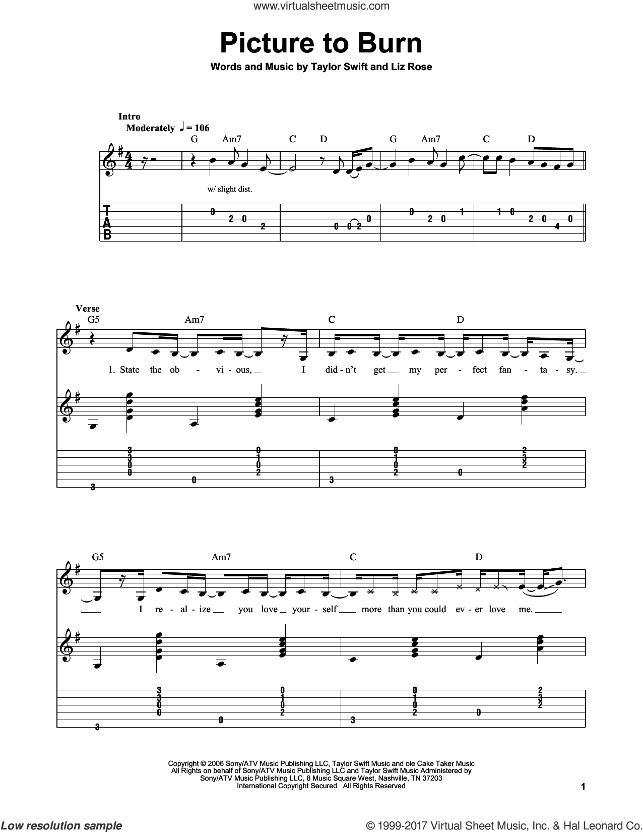 Swift - Picture To Burn Sheet Music For Guitar Solo (Easy Tablature) - Taylor Swift Mine Piano Sheet Music Free Printable