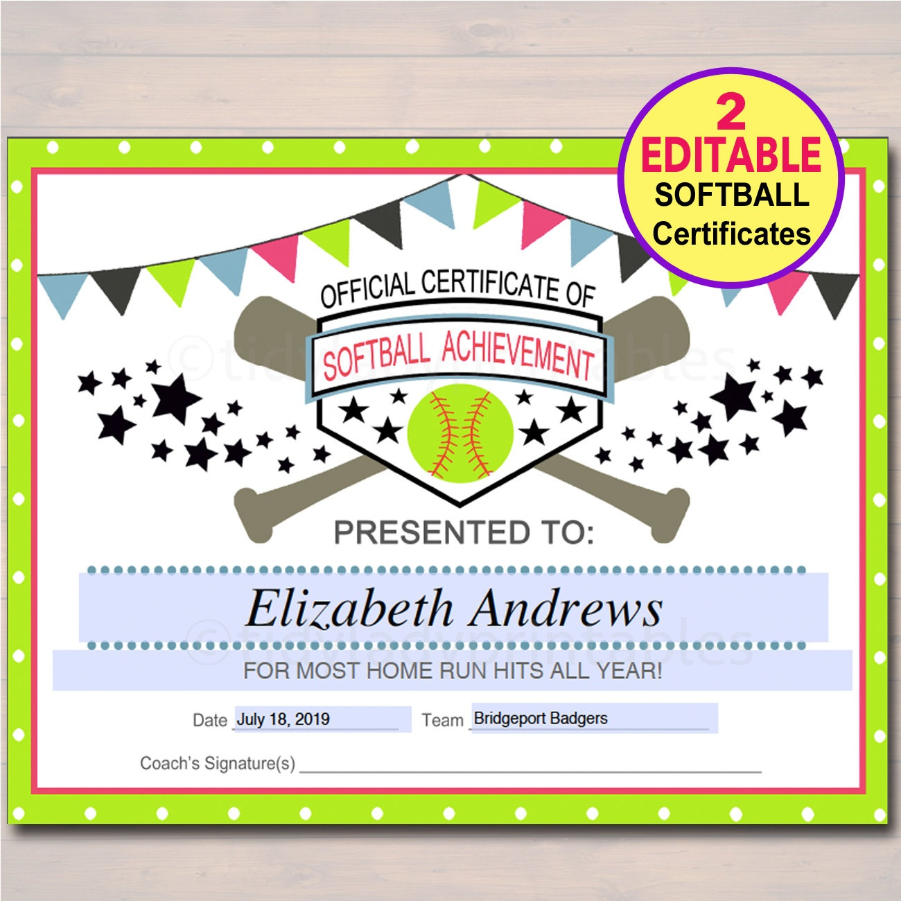 T Ball Certificates Printable - Design Templates - Free Printable Softball Certificates