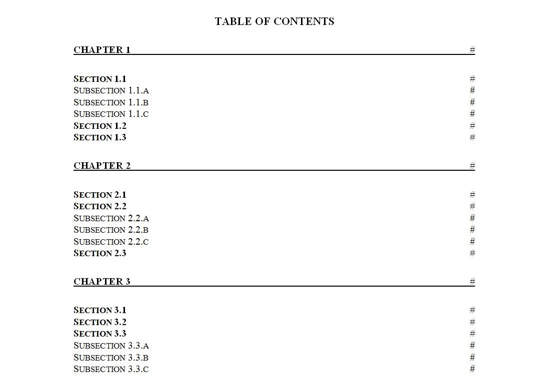 Table Of Contents Template   Table Of Contents Template Free - Free Printable Table Of Contents Template