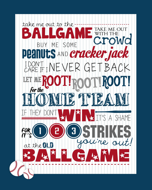Take Me Out To The Ballgame Baseball Printable - How To Nest For Less™ - Free Baseball Printables