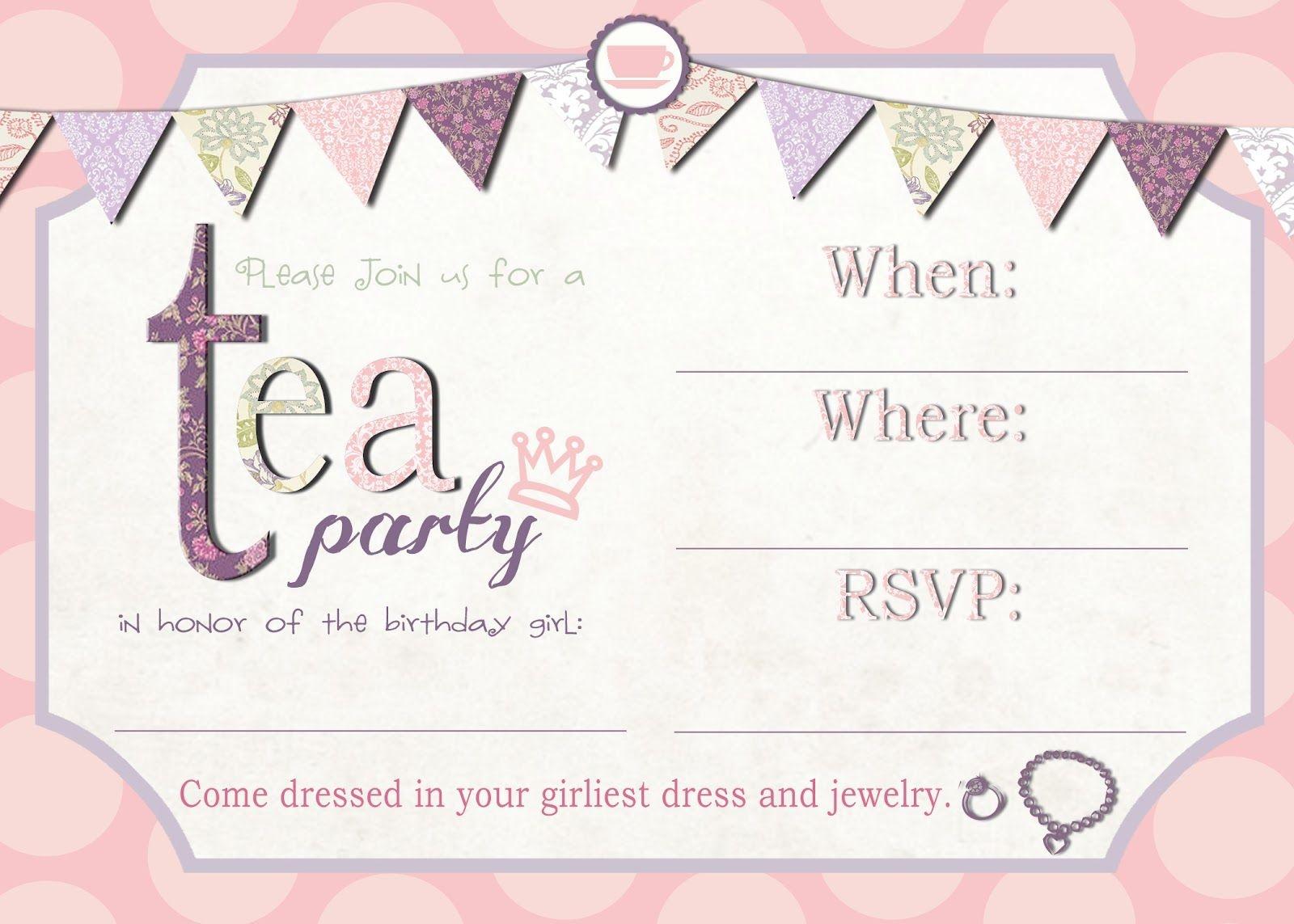 Tea Party Invitation Template Download – Invitetown | Girls' Tea - Free Tea Party Printables