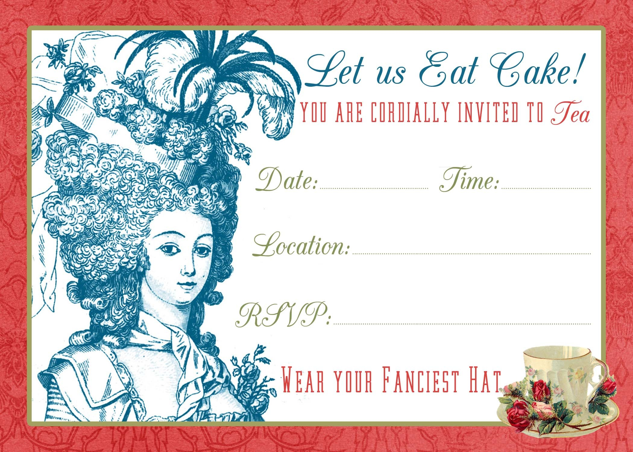 Tea Party Invite Printable & Tutorial! - The Graphics Fairy - Free Vintage Tea Party Printables