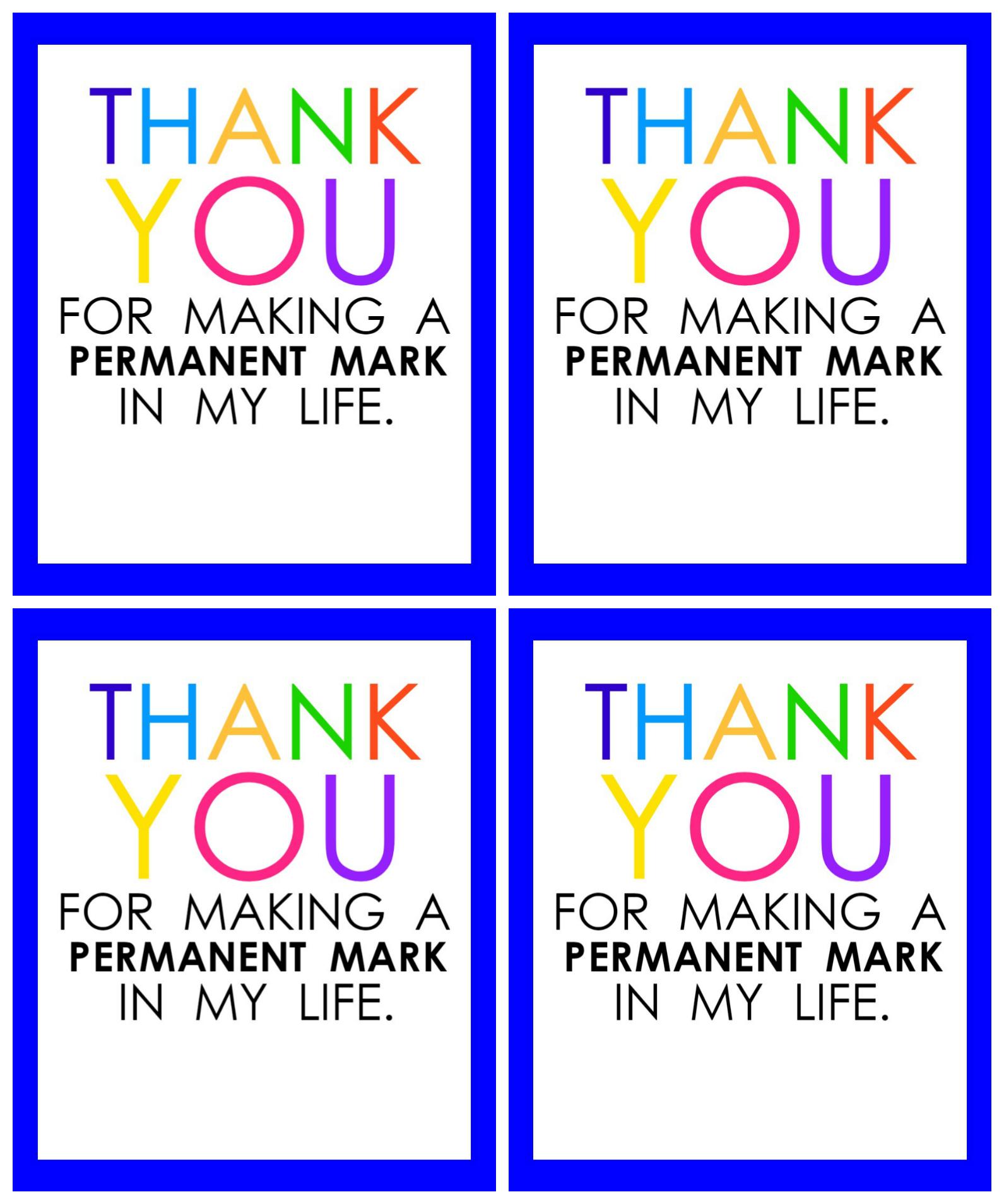 Teacher Appreciation Marker Gift Tag (Free Printable - Teacher Gift Tags Printable Free