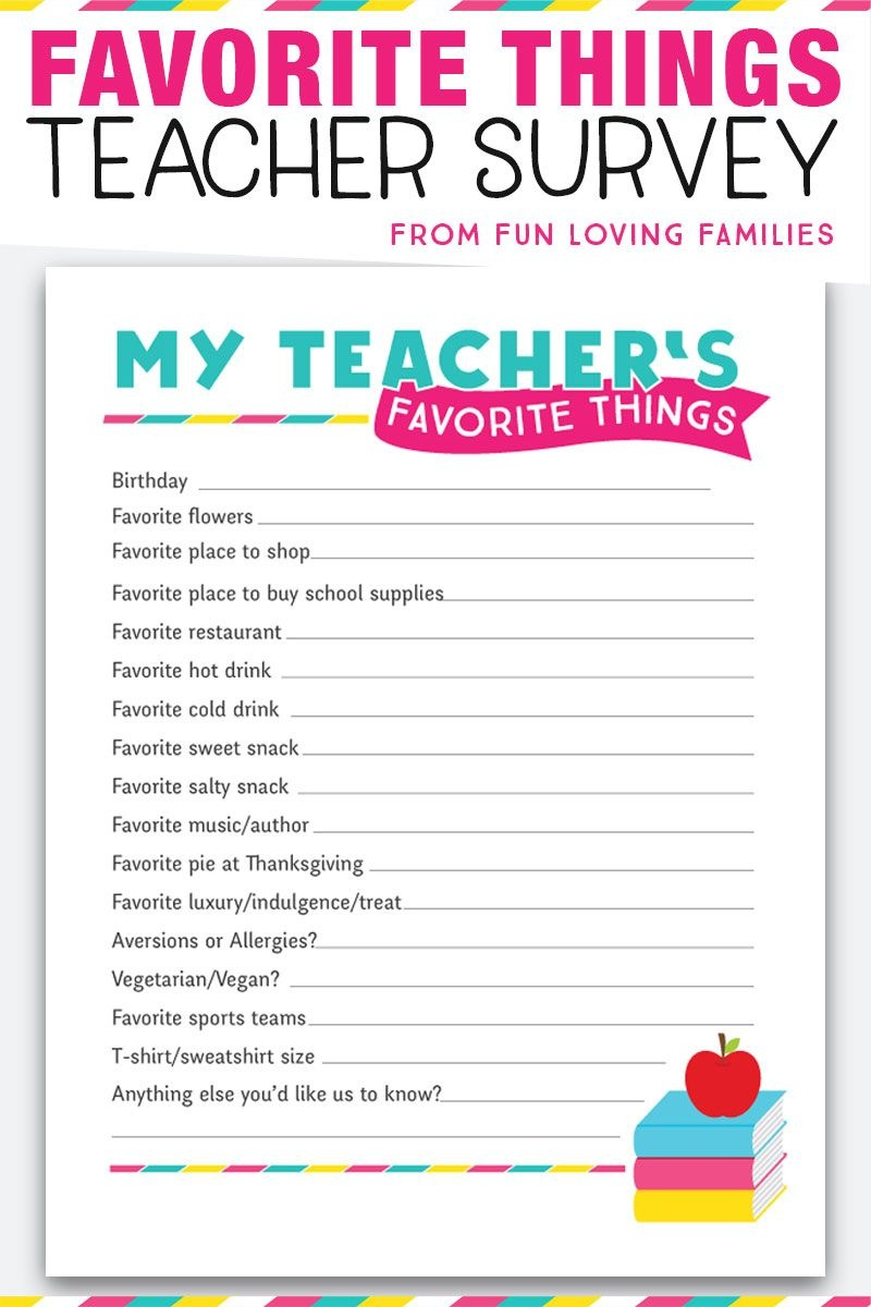 Teacher Favorite Things: Printable Questionnaire For Teacher Gifts - Make A Printable Survey Free