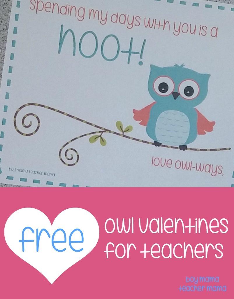 Teacher Mama: Free Printable Owl Valentines For Teachers - Boy Mama - Free Printables For Teachers