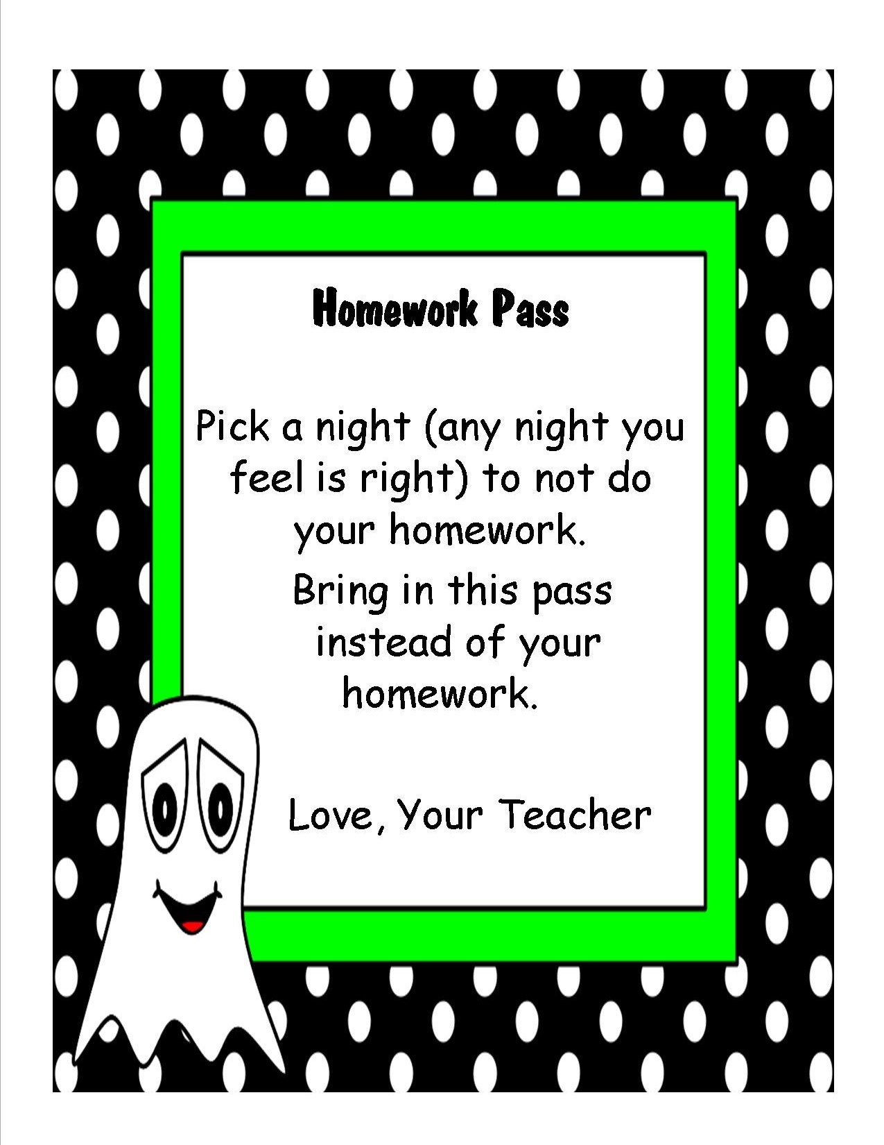 Teaching Heart Blog | From A Mom With A Teaching Heart On Feedspot - Free Printable Halloween Homework Pass