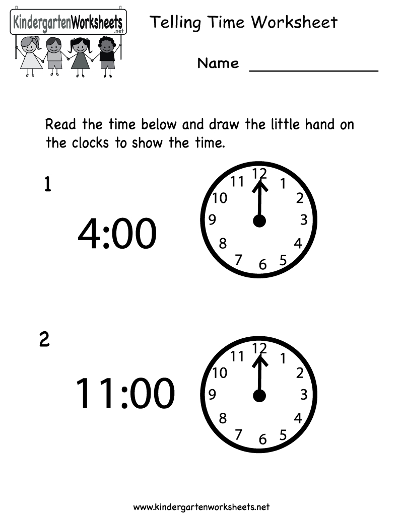 Telling Time Worksheet - Free Kindergarten Math Worksheet For Kids - Free Printable Time Worksheets For Kindergarten
