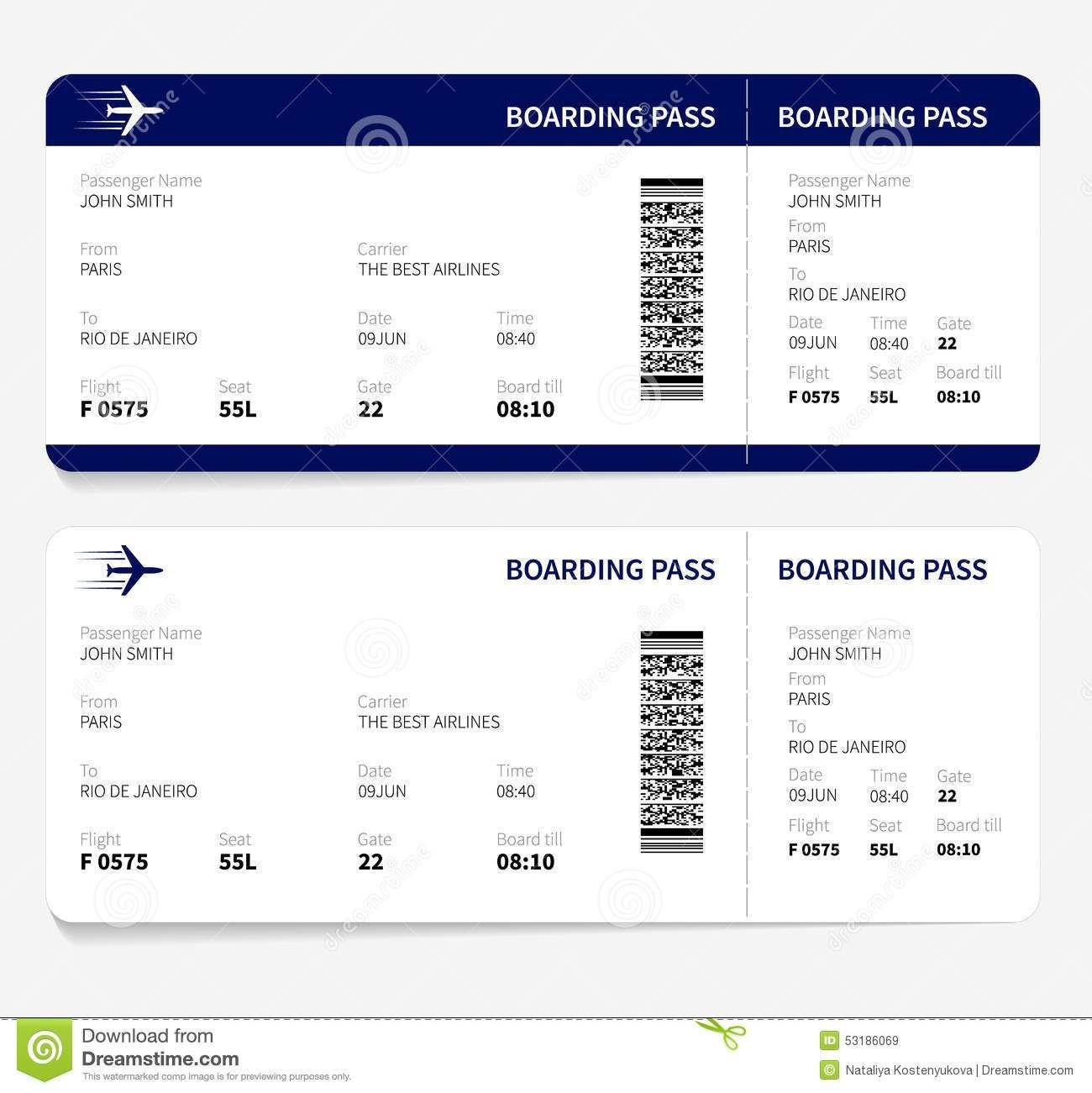Template Airline Ticket - Tutlin.psstech.co - Free Printable Airline Ticket Template
