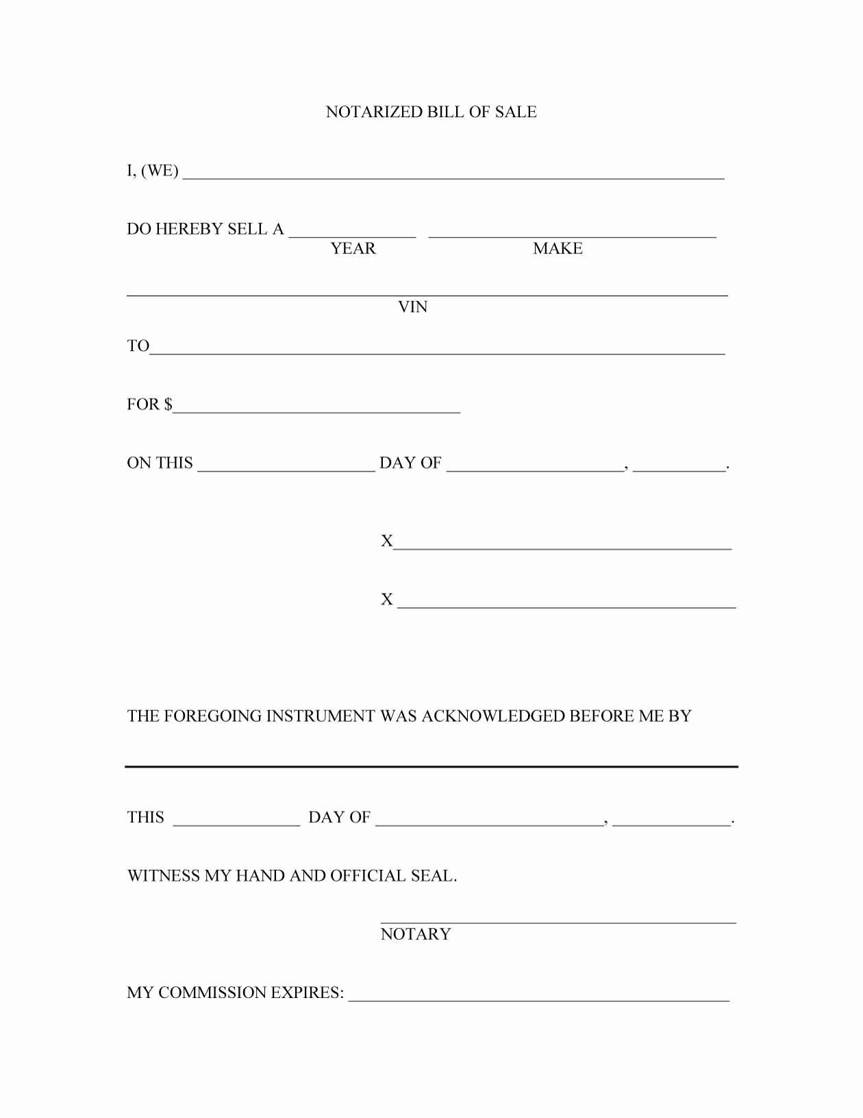 Template For Bill Of Sale For Car – Emeline.space - Free Printable Bill Of Sale Form