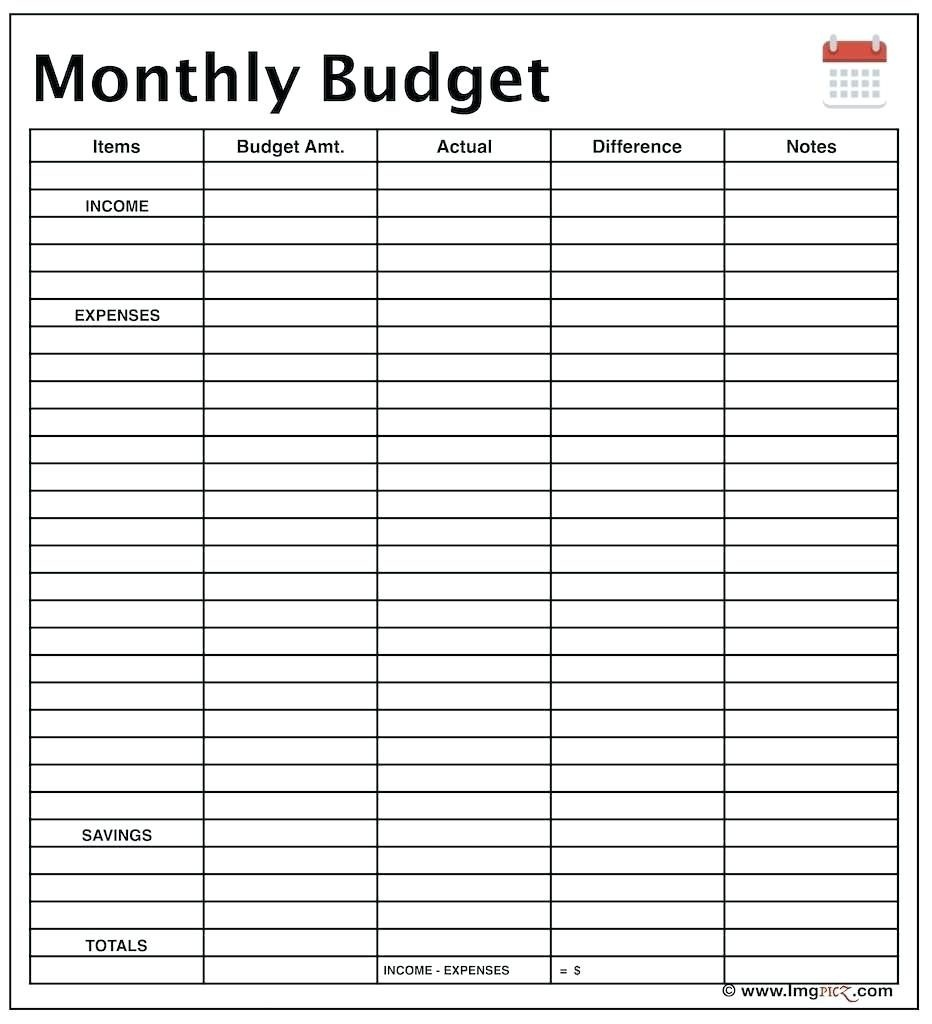 Template Ideas Income And Expense Spreadsheet For Monthly Budget - Free Printable Monthly Expense Sheet