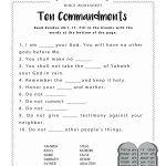 Ten Commandments Worksheet For Kids | Junior Church | Bible   Free Printable Children's Church Curriculum