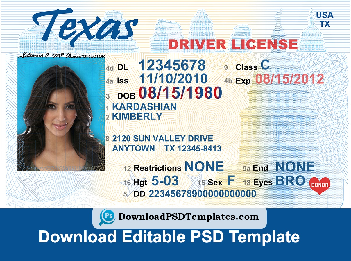 Texas Driver License Psd Template | Download Editable File - Free Printable Fake Drivers License
