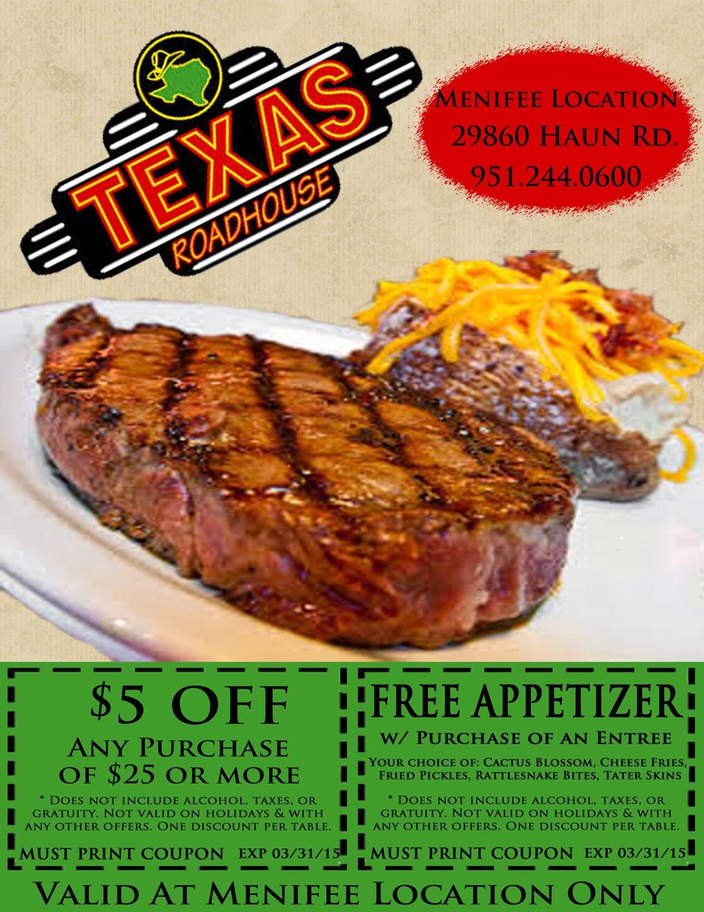 Texas Roadhouse Coupons (10) - Promo & Coupon Codes Updates - Texas Roadhouse Printable Coupons Free Appetizer