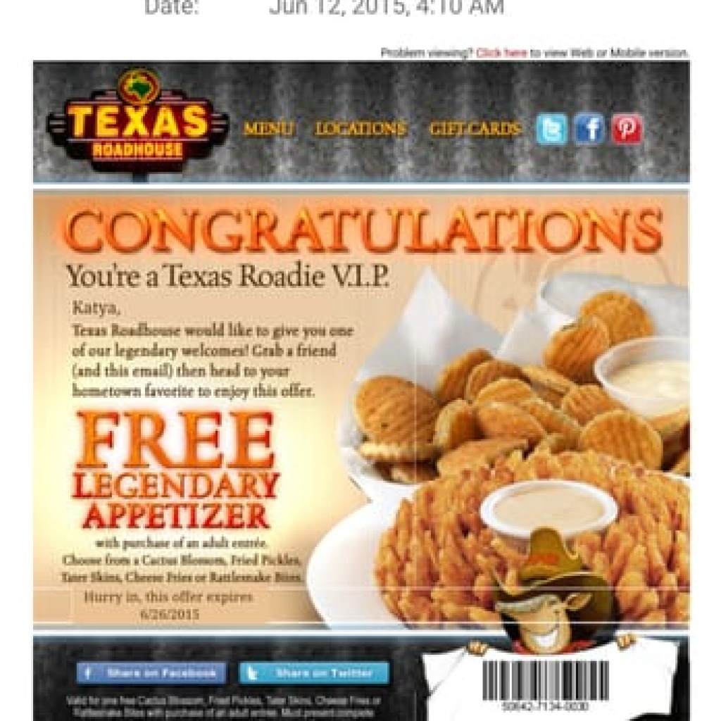 Texas Roadhouse Coupons Printable Free Appetizer (86+ Images In - Texas Roadhouse Printable Coupons Free Appetizer