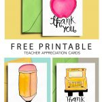 Thank You Card For Teacher And School Bus Driver With Free   Free Printable Teacher Appreciation Cards