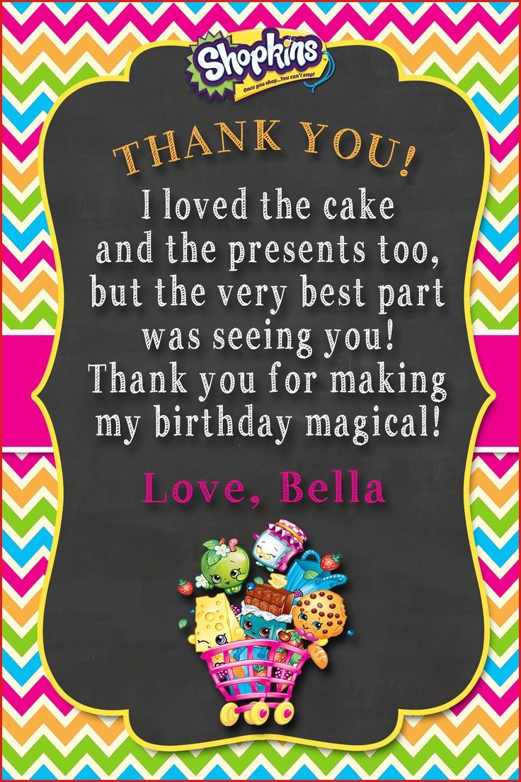 Thank You Cards For Birthday Shopkins Thank You Card Shopkins - Shopkins Thank You Cards Free Printable
