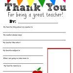 Thank You Teacher Free Printable | Teacher Appreciation | Teacher   Free Printables For Teachers