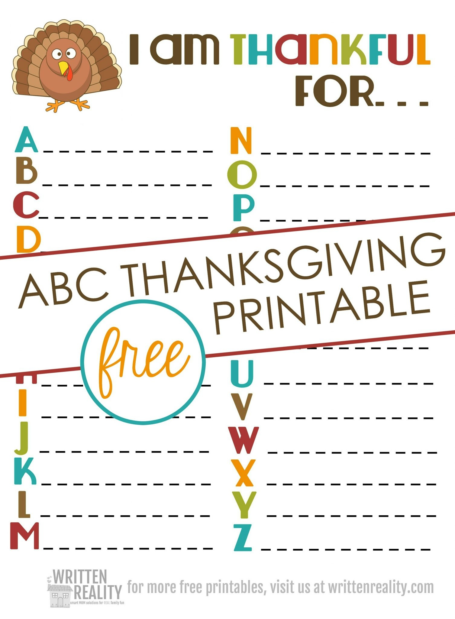 Thankful Abcs Printable Is Perfect For Thanksgiving! - Written Reality - Free Thanksgiving Printables