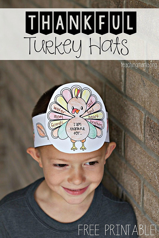 Thankful Turkey Hats - Free Printable Thanksgiving Hats
