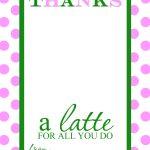 Thanks A Latte Free Printable Gift Card Holder Teacher Gift | Diy   Thanks A Latte Free Printable Card