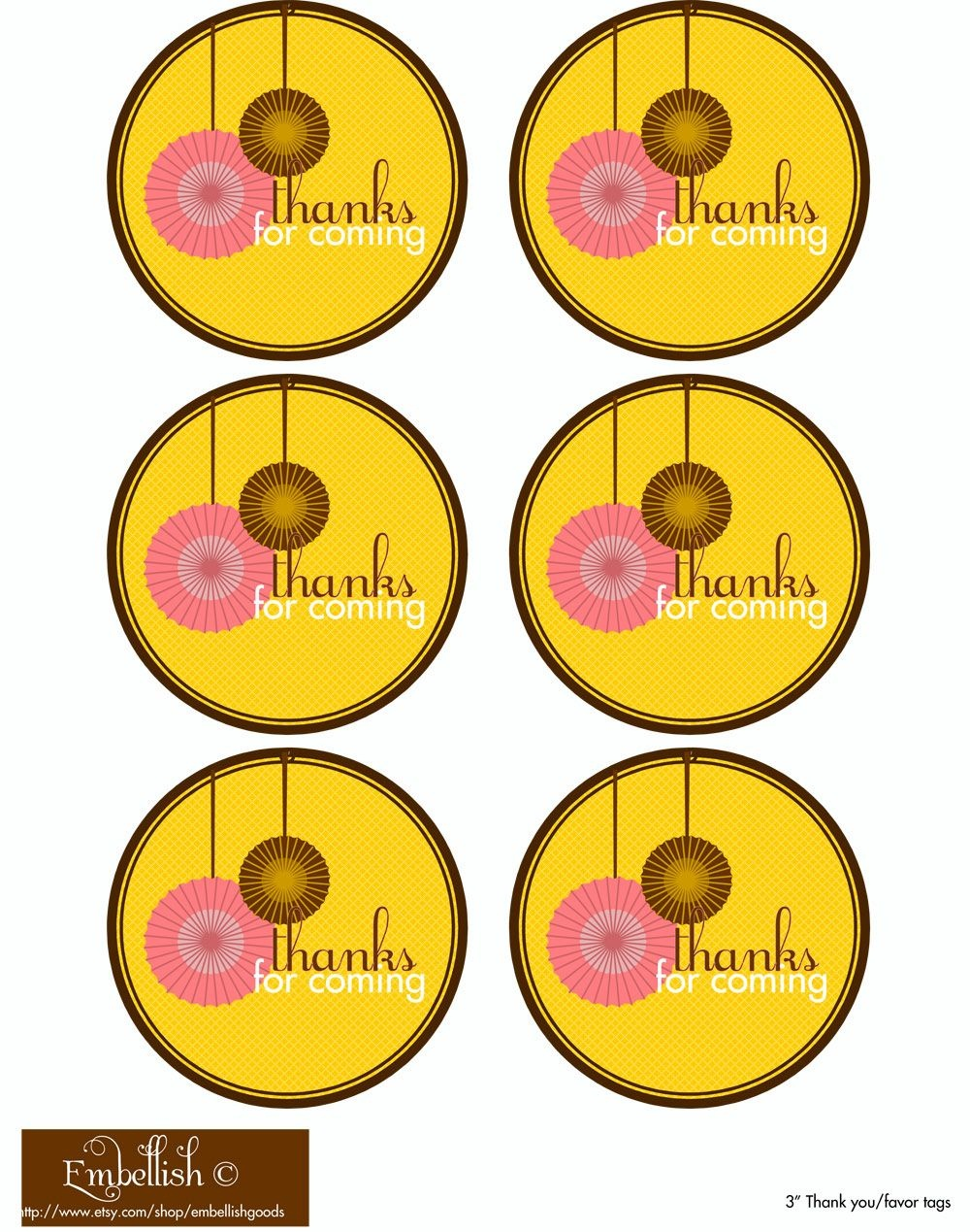 Thanks For Coming Free Printable Tags | Birthday Treats | Party - Birthday Party Favor Tags Printable Free