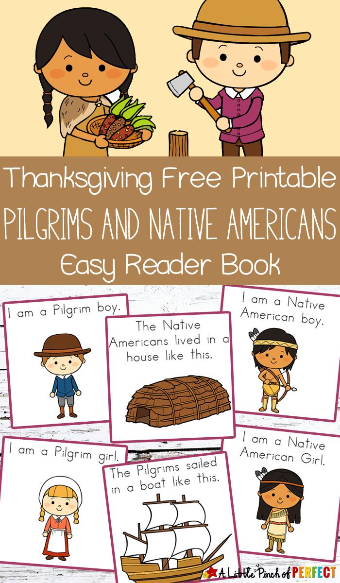 Thanksgiving Free Printable Easy Reader Book: Pilgrims And Native - Free Printable Thanksgiving Books