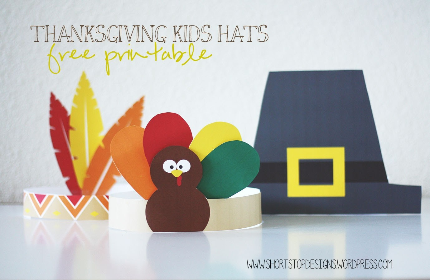 Thanksgiving Kids Hats – Free Printables – Short Stop Designs - Free Printable Pilgrim Hat Pattern
