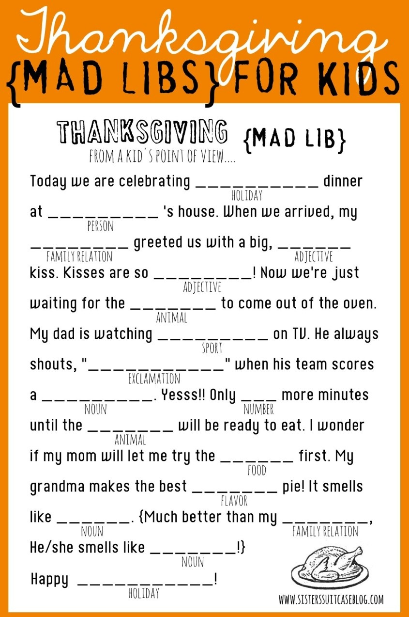 Thanksgiving Mad Libs Printable - My Sister's Suitcase - Packed With - Mad Libs Online Printable Free