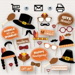 Thanksgiving Party Printable Photo Booth Props Glasses | Etsy   Free Printable Thanksgiving Photo Props
