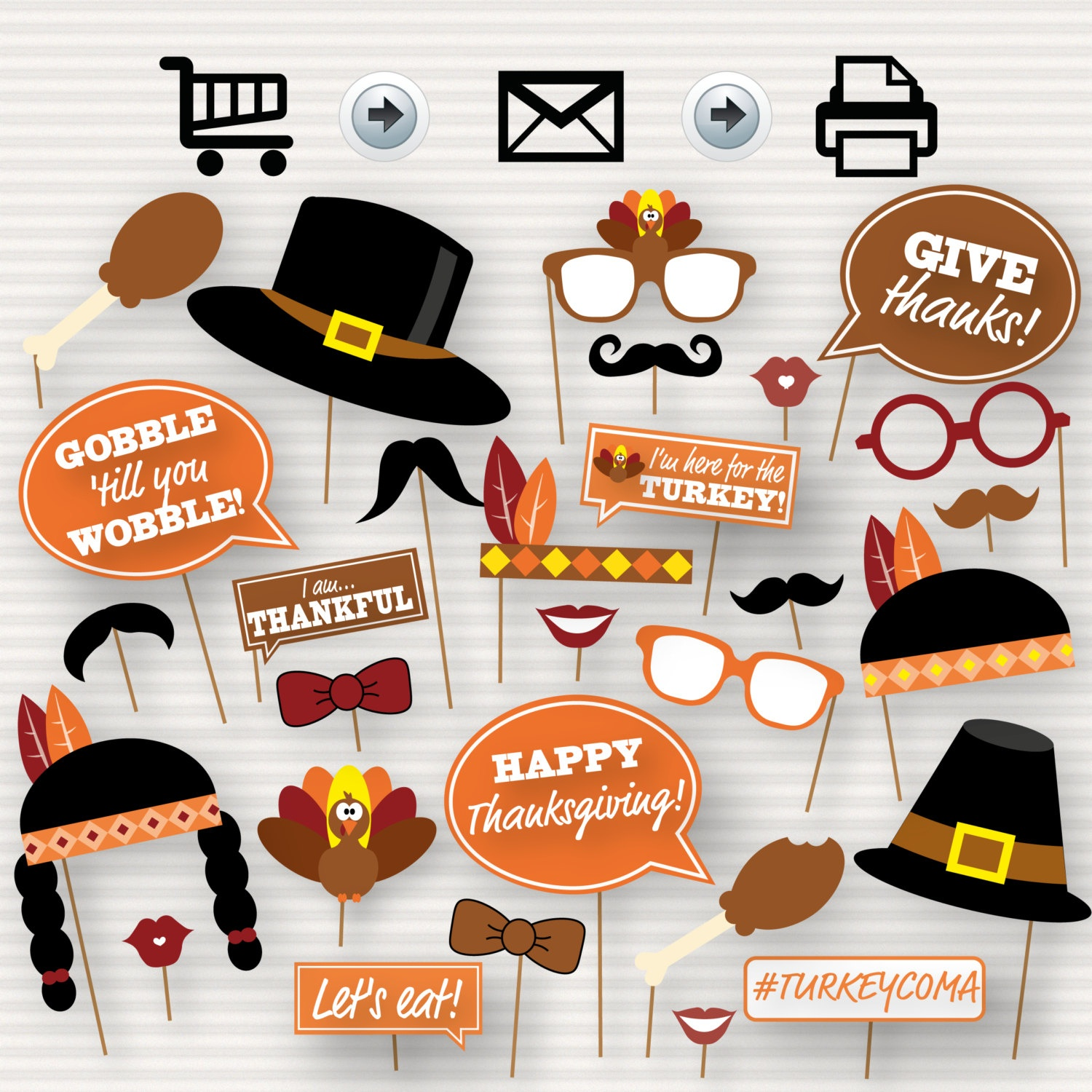 Thanksgiving Party Printable Photo Booth Props Glasses | Etsy - Free Printable Thanksgiving Photo Props