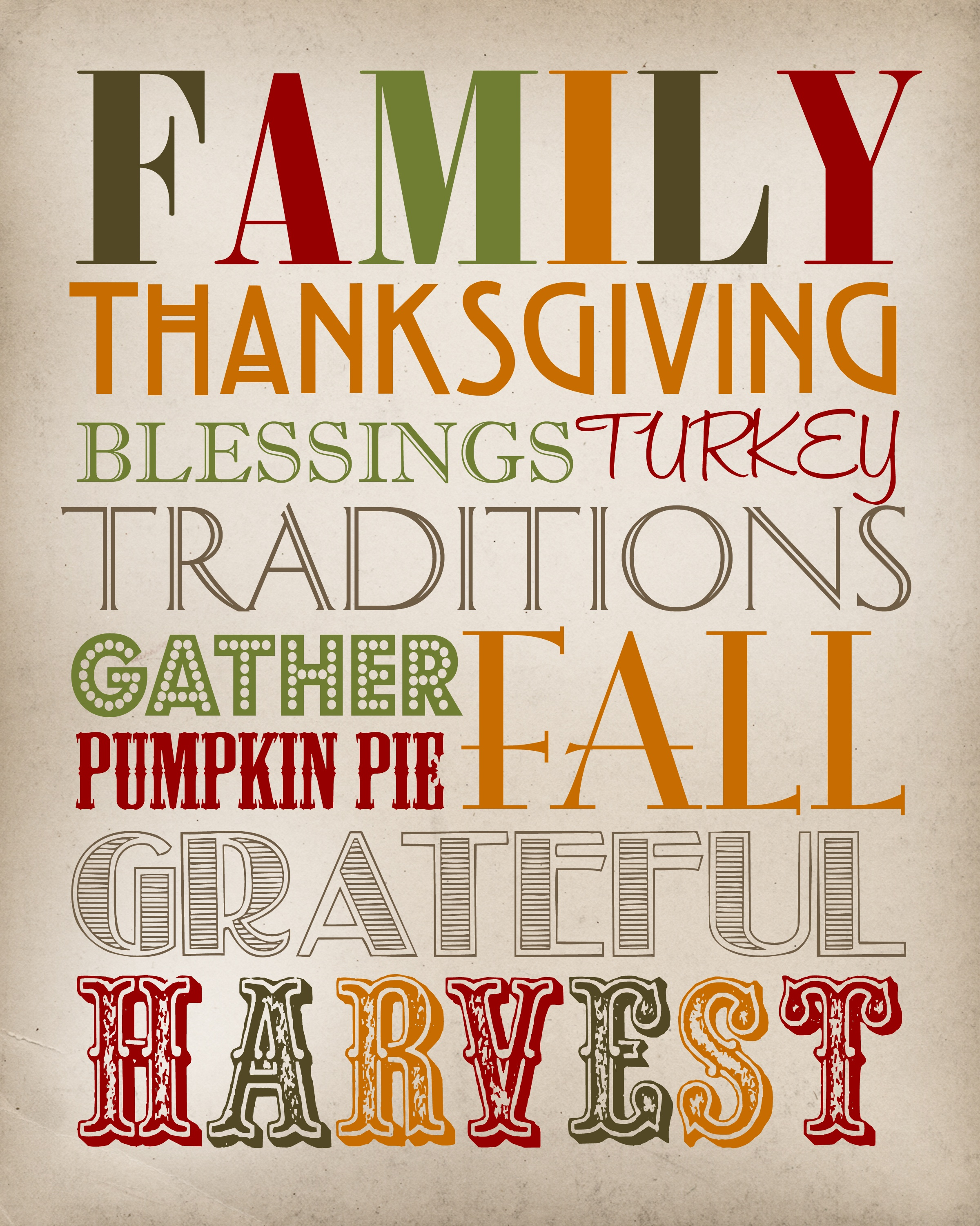 Thanksgiving Subway Art - Thanksgiving Printable - Free Printable Subway Art Template