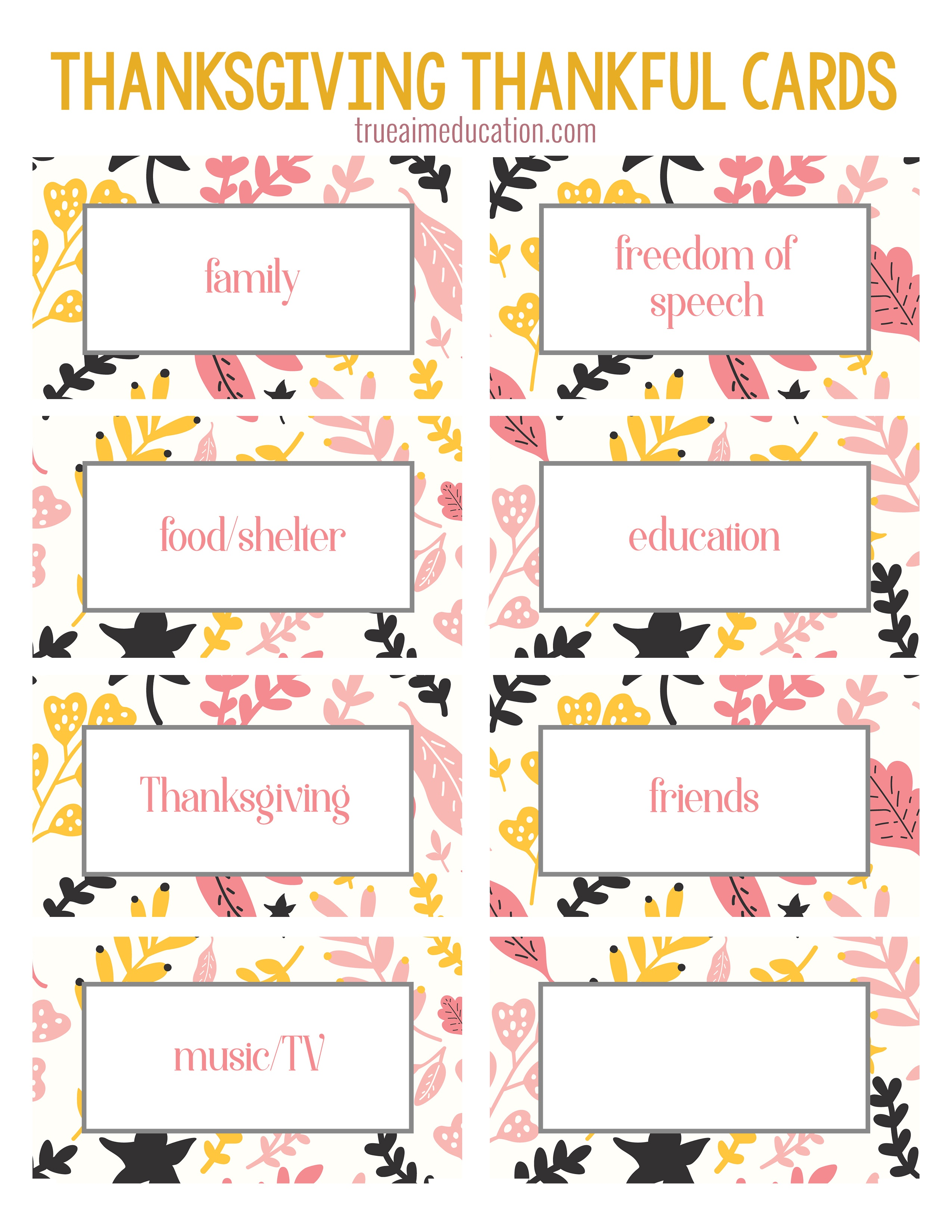 Thanksgiving Thankfulness With Free Printable Cards - Free Printable Cards