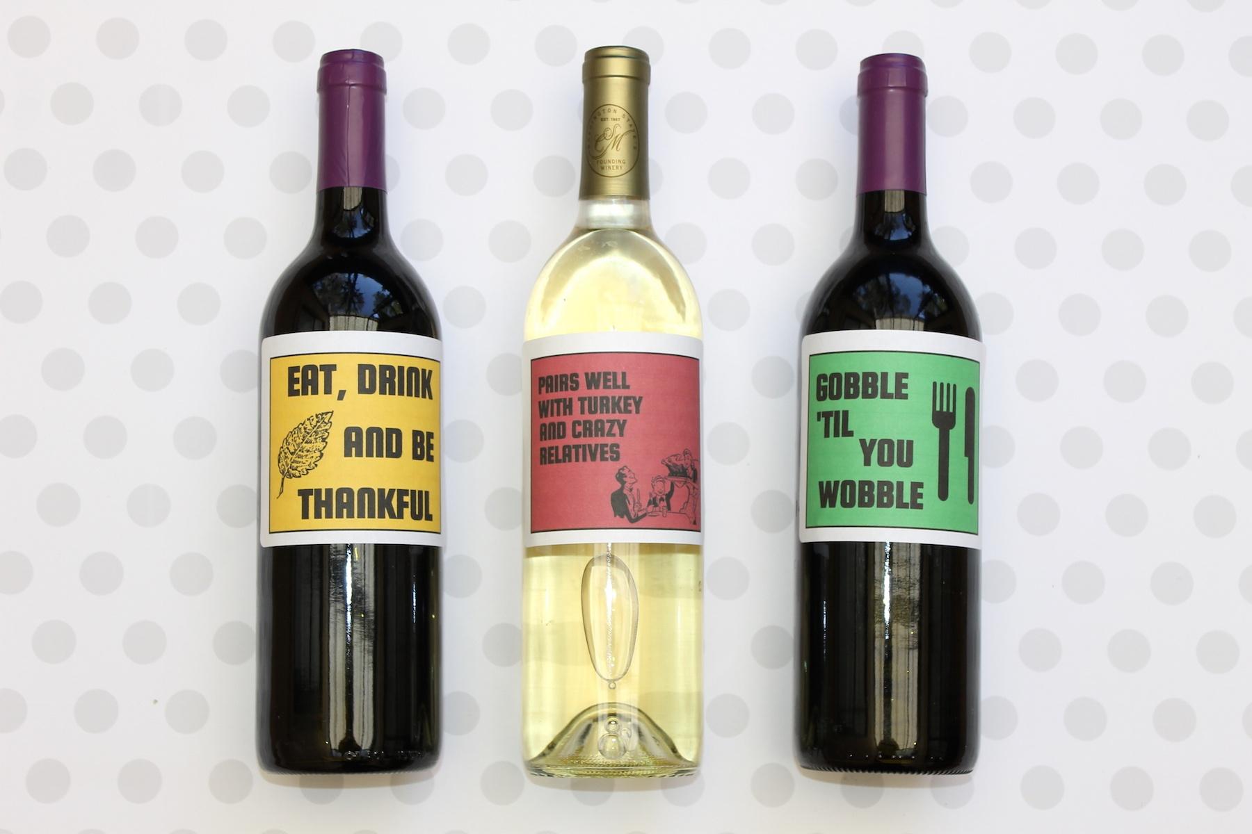 Thanksgiving Wine Labels + Free Printables - Free Printable Wine Labels