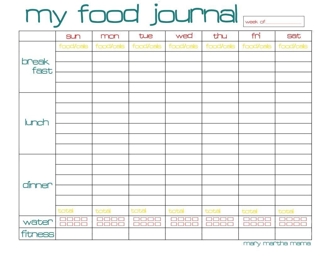 The Best Free Diet Journals - Bariatric Surgery Source - Diet Logs Printable Free