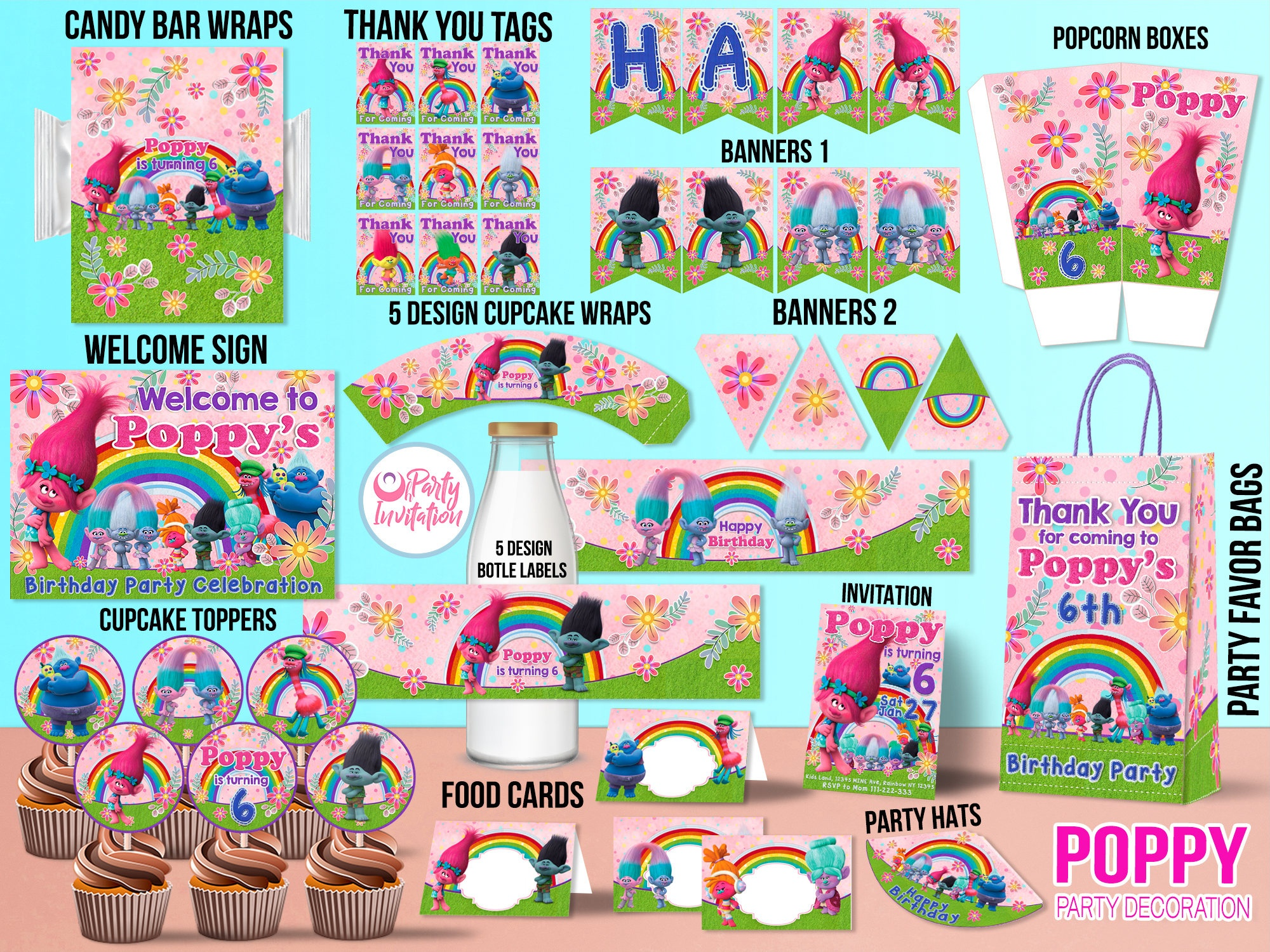 The Best Trolls Birthday Party Ideas - Happiness Is Homemade - Free Trolls Printables