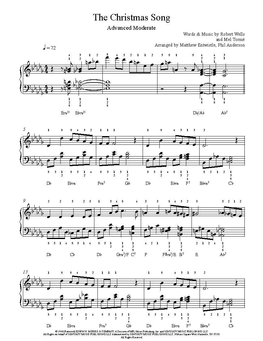The Christmas Songnat King Cole Piano Sheet Music   Advanced Level - Christmas Songs Piano Sheet Music Free Printable