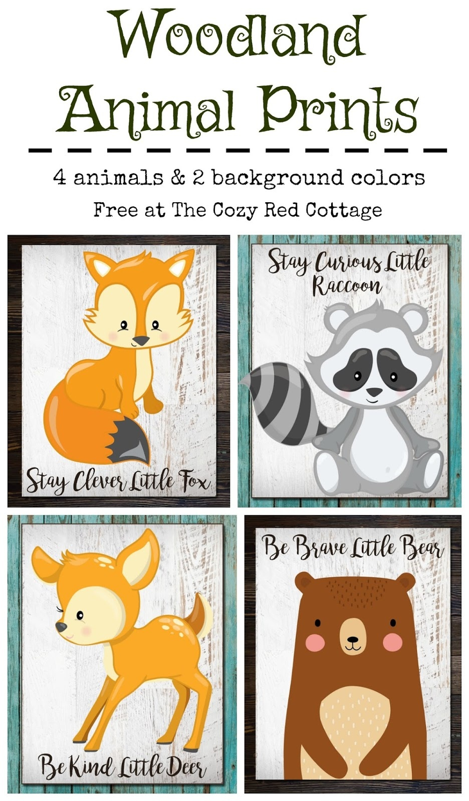 The Cozy Red Cottage: Free Woodland Animal Prints - Free Woodland Animal Printables