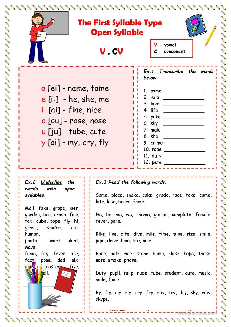 image relating to Syllable Games Printable identify Absolutely free Printable Open up And Shut Syllable Worksheets Absolutely free