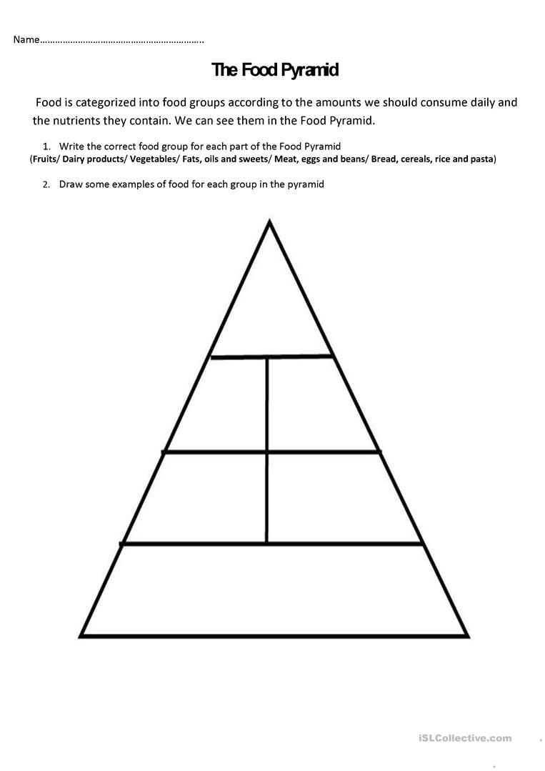 The Food Pyramid And Nutrients Worksheet - Free Esl Printable - Free Printable Food Pyramid