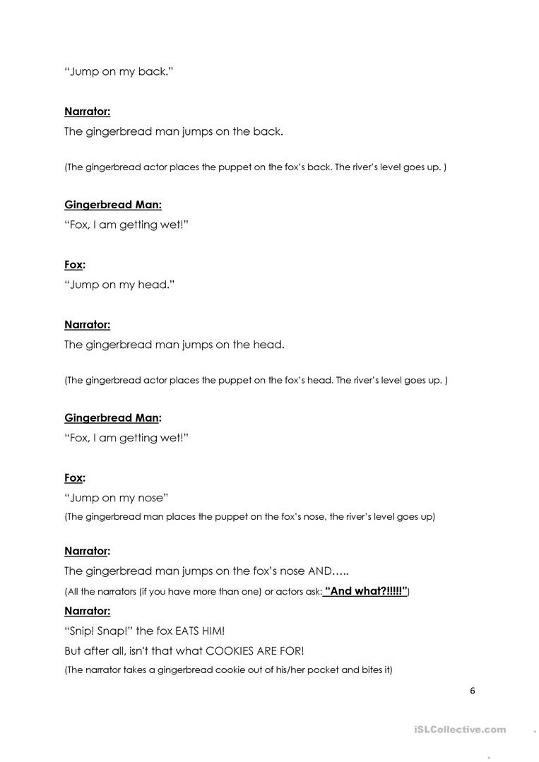 The Gingerbread Man - Play Script Worksheet - Free Esl Printable - Free Printable Play Scripts